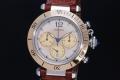 カルティエ W3101155 パシャ クロノグラフ メンズ クォーツ SS K18YG ブラウンレザー