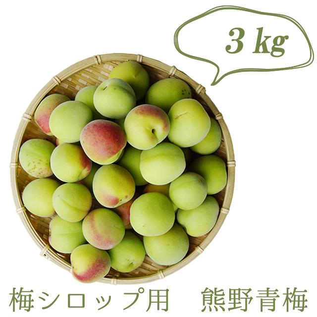 熊野有機生梅(青梅) 梅シロップ用の生梅(紀州 和歌山県産) 3kg【冷蔵配送】