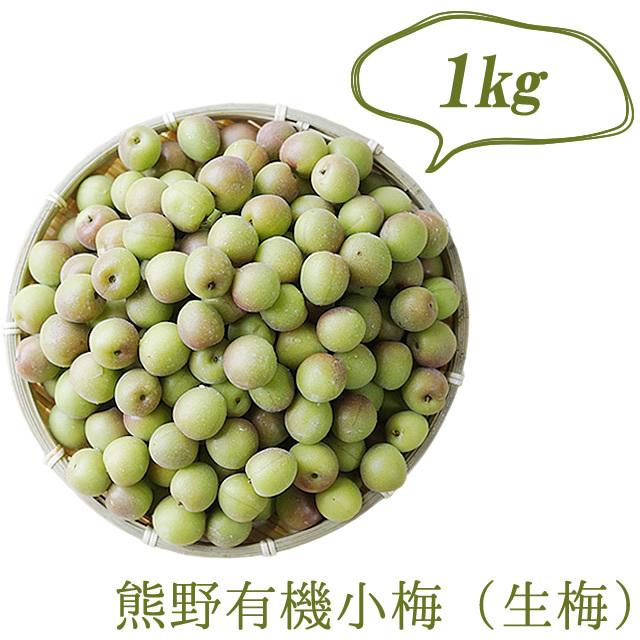 熊野有機生小梅(生梅) 梅シロップ作り用、梅酒作り用、梅干し作り用 1kg【冷蔵配送】