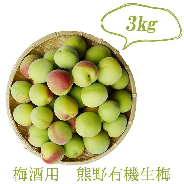 熊野有機栽培生梅(青梅) 梅酒用の生梅(紀州 和歌山県産) 3kg【冷蔵配送】