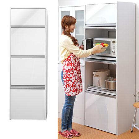 60幅 鏡面仕上げ コンセント付き 食器棚 電子レンジ台 炊飯器 レンジボード