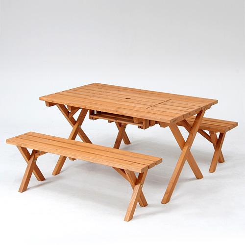 ガーデンテーブルセット コンロスペース付 ガーデニング レジャー 杉材