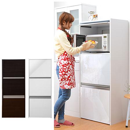 鏡面仕上げ コンセント付き 60幅 食器棚 電子レンジ台 炊飯器 フラップ扉