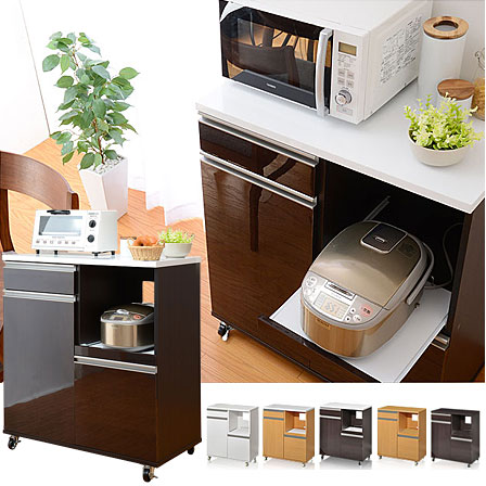 80cm幅 コンセント付き 鏡面 電子レンジ台 炊飯器  食器棚