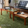 2点セット ネストテーブル コーヒーテーブル 幅90cm ガラス 天然木