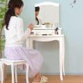 ドレッサー 姫系 スツール付き 鏡台 一面 化粧台 プリンセス セット
