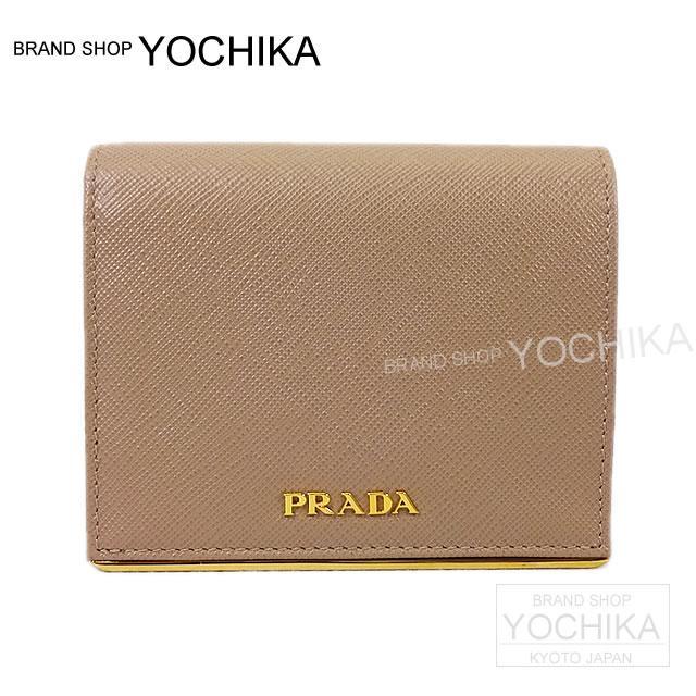PRADA プラダ 二つ折 コンパクト財布 カメオベージュ サフィアーノメタル 1MV204 新品
