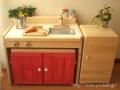 木製ままごとキッチンチェアータイプ《キッズ変身デスク》 カラー<C600C>冷蔵庫風本棚付