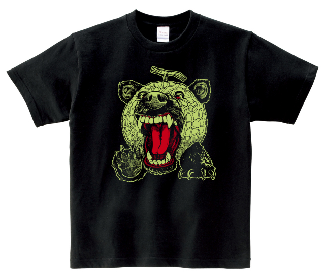 メロン熊Tシャツ こども用 (ブラック×グリーン)