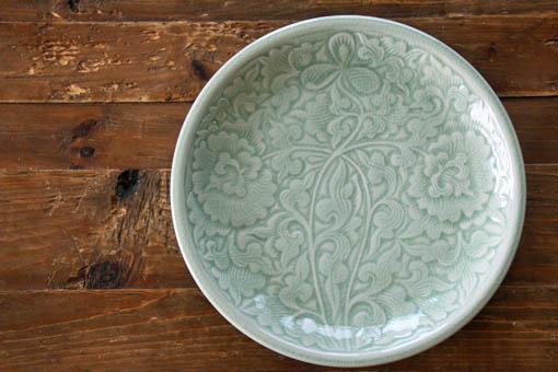 丸皿25cm フラワー ナチュラルグリーン