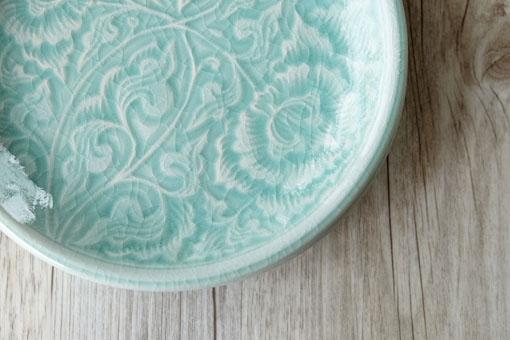 丸皿17cm フラワー オーシャングリーン