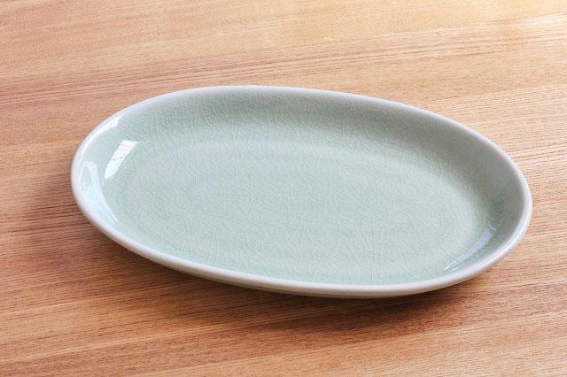 だ円のお皿 S プレーン ナチュラルグリーン