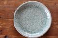 丸皿25cm フラワー オーシャングリーン