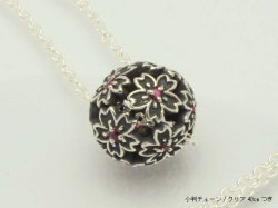 桜ペンダント/夜桜玉(ルビー)シルバーペンダント/桜モチーフ