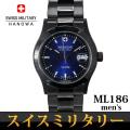 スイスミリタリー SWISS MILITARY エレガントブラック 腕時計 メンズ ML-186画像