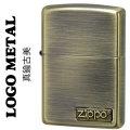 zippo(ジッポーライター)ロゴ メタル 真鍮古美画像