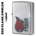 zippo(ジッポーライター)RED FLAME EMBLEM #28847 Satin Chrome画像