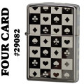 zippo(ジッポーライター)The four card Suits #29082 Black Ice画像