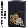 zippo(ジッポーライター)Crowned Skull Emblem #29100 Black Matte画像