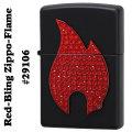 zippo(ジッポーライター)Red-Bling Zippo-Flame #29106 black matte画像