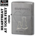 zippo(ジッポーライター)CAT&DOG (HEARTBEAT AT YOUR FEET)#29258 Linen Wave画像