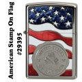 zippo(ジッポーライター)American Stamp On Flag (星条旗 USAスタンプ) ハイポリッシュクローム画像