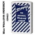 zippo(ジッポーライター)Blue White 1958-59 DESIGN パッケージデザイン ホワイトマット画像
