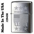 zippo(ジッポー)Made In The USA With American flag 29430 high polish chrome画像