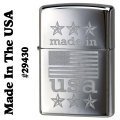 zippo(ジッポー)Made In The USA With American flag 29430 high polish chrome画像