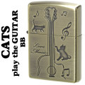 zippo(ジッポーライター)猫 キャットギター CATS play the GUITAR ブラス古美 CATG-BB画像