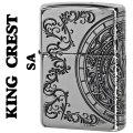 zippo(ジッポーライター)キングクレスト 王の紋章 シルバー 銀 イブシ 三面連続エッチング画像