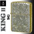 zippo アーマー KING II (キング2) 5面加工 アラベスク SG シルバーゴールド画像
