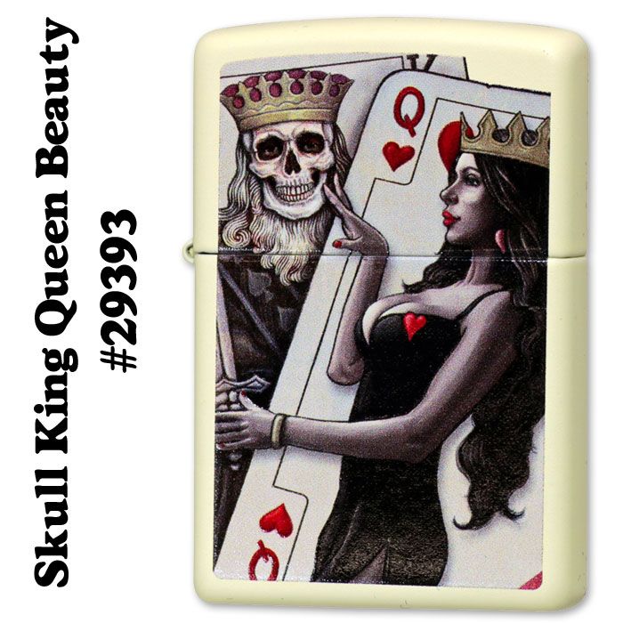 zippo(ジッポーライター)トランプ スカル柄 Skull King Queen Beauty クリ−ムマット画像