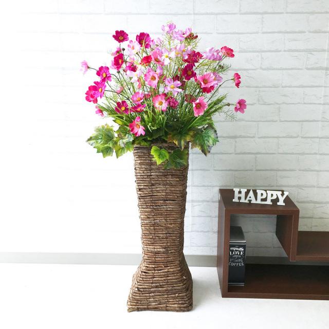【PA122 造花スタンドアレンジ(コスモス)/バスケットスタンド】フラワーアレンジスタンド お祝いスタンド花 フラワーアレンジメント 開店祝い 通販 おしゃれ フラワーアレンジ