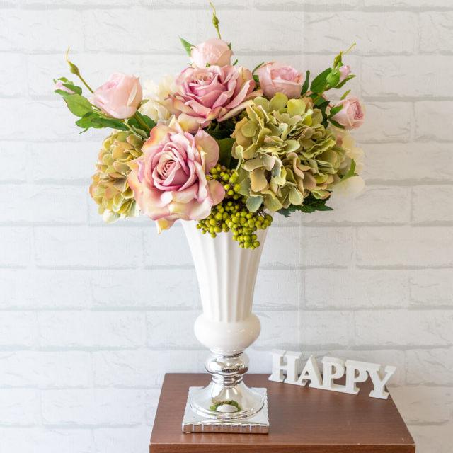 【PA230 造花アレンジメント(ローズ・アジサイ・ベリー)】フラワーアレンジメント 造花 アーティフィシャルフラワー テーブルフラワー テーブルサイズ 卓上サイズ フラワーアレンジ