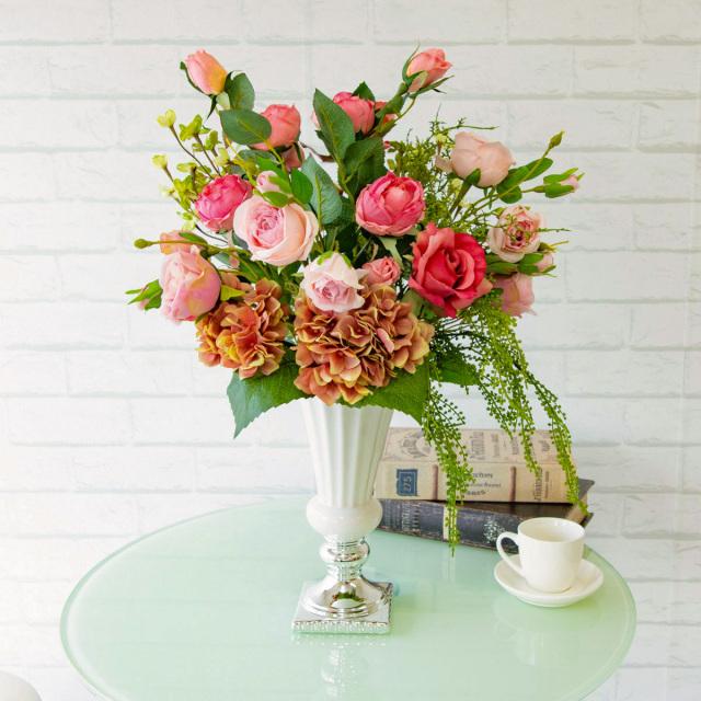 【PA276 造花アレンジメント(ローズ・キャベッジローズ・サキシフラガ・ハイドランジア)】フラワーアレンジメント 造花 テーブルフラワー テーブルサイズ おしゃれ フラワーアレンジ ネイルサロン