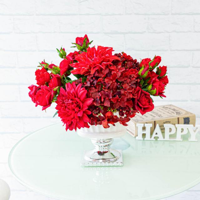 【PA278 造花アレンジメント(ローズ・ダリア・ハイドランジア)】フラワーアレンジメント 造花 テーブルフラワー テーブルサイズ おしゃれ フラワーアレンジ ネイルサロン