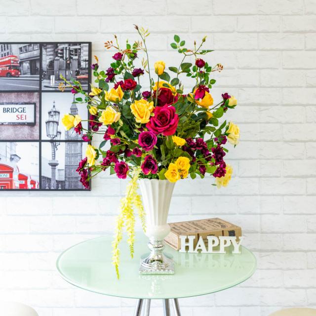 【PA279 造花アレンジメント(スプレーローズ・ラナンキュラス・キャスケードオーキッド)】フラワーアレンジメント 造花 テーブルフラワー テーブルサイズ おしゃれ フラワーアレンジ ネイルサロン