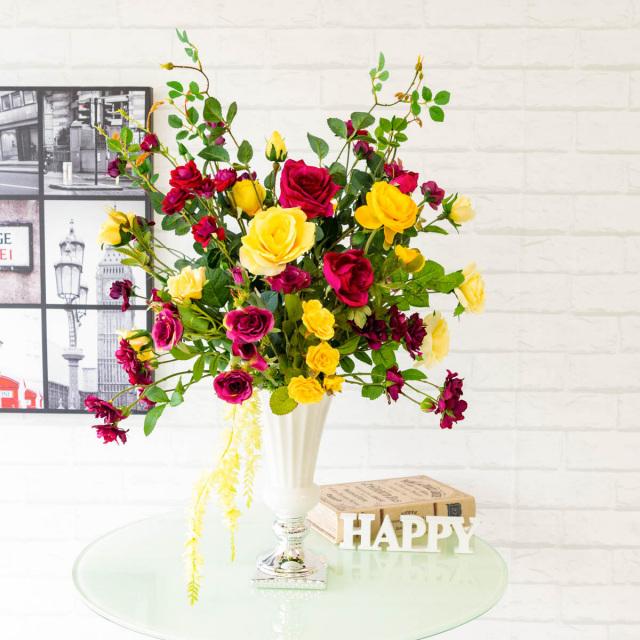 【PA280 造花アレンジメント(スプレーローズ・ラナンキュラス・キャスケードオーキッド)/陶器鉢】フラワーアレンジメント 造花 アーティフィシャルフラワー テーブルフラワー テーブルサイズ 卓上サイズ フラワーアレンジ