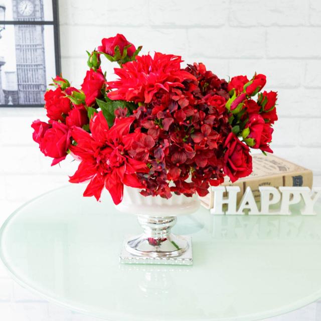 【PA281 造花アレンジメント(ローズ・ダリア・ハイドランジア)/陶器鉢】フラワーアレンジメント 造花 アーティフィシャルフラワー テーブルフラワー テーブルサイズ 卓上サイズ フラワーアレンジ