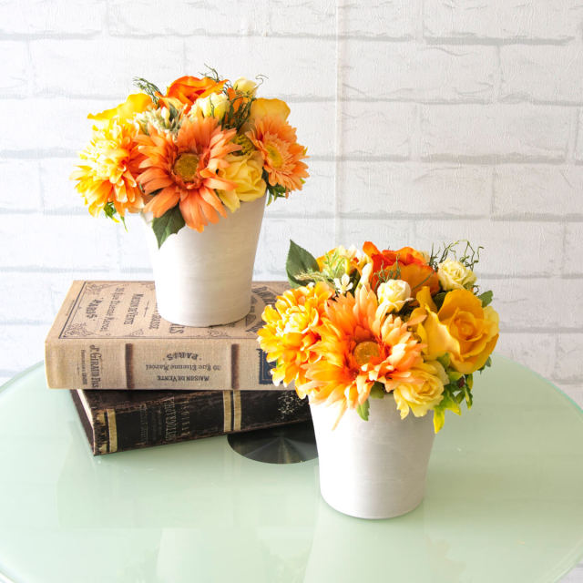 【PA320 造花アレンジメント(バラ・ガーベラ)/2個セット/プラスチック合成樹脂鉢】フラワーアレンジメント 造花 アーティフィシャルフラワー テーブルフラワー テーブルサイズ 卓上サイズ フラワーアレンジ