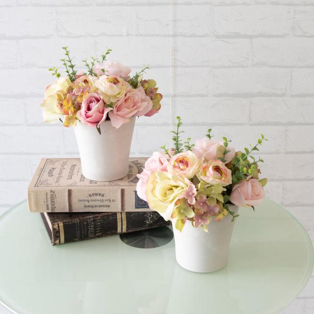 【PA321 造花アレンジメント(バラ・アジサイ)/2個セット/プラスチック合成樹脂鉢】フラワーアレンジメント 造花 アーティフィシャルフラワー テーブルフラワー テーブルサイズ 卓上サイズ フラワーアレンジ