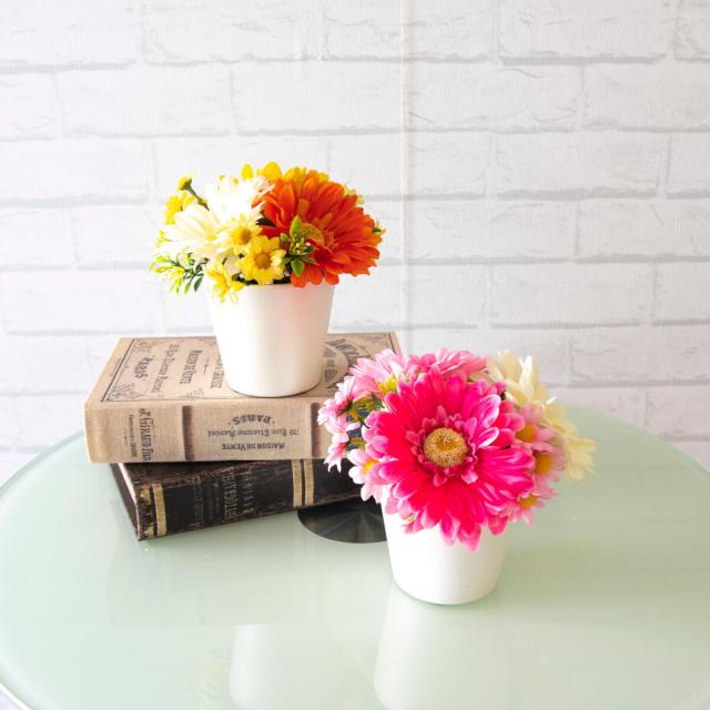 【PA322 造花アレンジメント(ガーベラ)/2個セット/プラスチック合成樹脂鉢】フラワーアレンジメント 造花 アーティフィシャルフラワー テーブルフラワー テーブルサイズ 卓上サイズ フラワーアレンジ