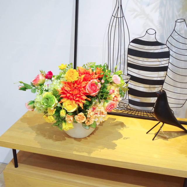 【PAS014 造花アレンジメント(ローズ・ラナンキュラス・アジアンタム・ダリア・アジサイ)/プラスチック合成樹脂鉢】デザインポット 卓上ポット ミニプランター フラワーアレンジメント アーティフィシャルフラワー アートフラワー お祝い花 造花 インテリア テーブルサイズ