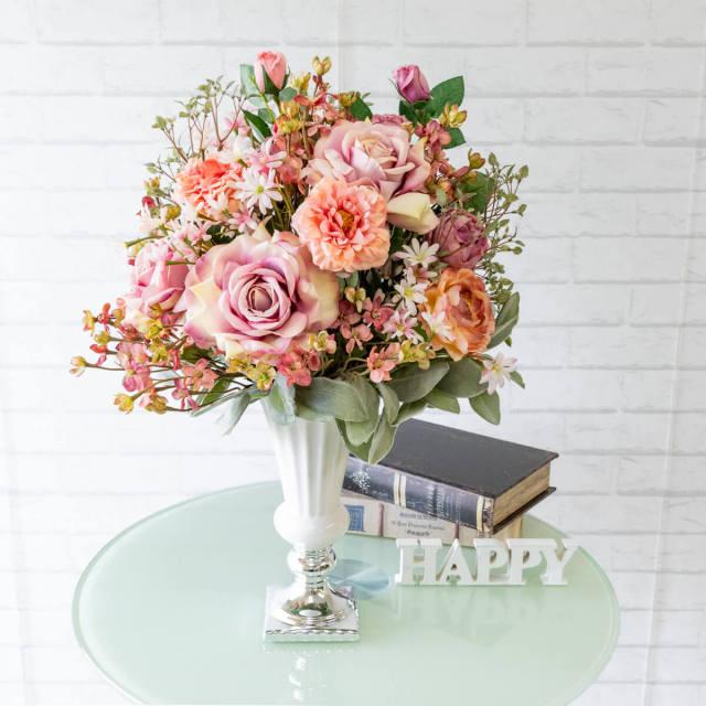 【PAS016 造花アレンジメント(ローズ・シーアスター)/陶器鉢】フラワーアレンジメント 造花 アーティフィシャルフラワー テーブルフラワー テーブルサイズ 卓上サイズ フラワーアレンジ