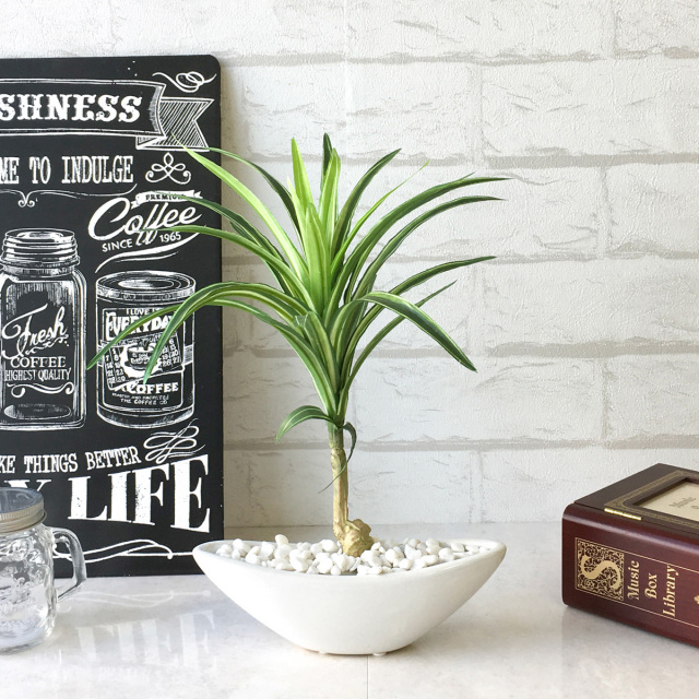 【PG001 ユッカポット(S)【GLA-1204】/陶器】人工観葉植物 フェイクグリーン アーティフィシャルグリーン 造花 通販 装飾 観葉樹 人工樹木  インテリア 玄関 リビング おしゃれ テーブルサイズ