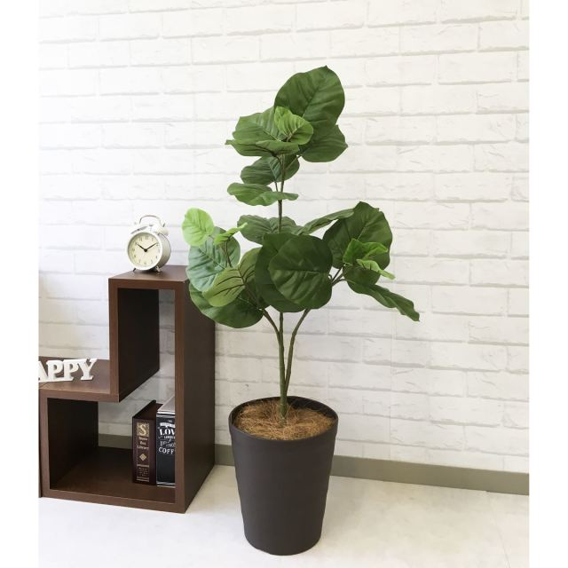 【PG095 ウンベラータ H100cm  / ポリプロピレン鉢】人工観葉植物 造花 フェイクグリーンインテリア アーティフィシャルグリーン