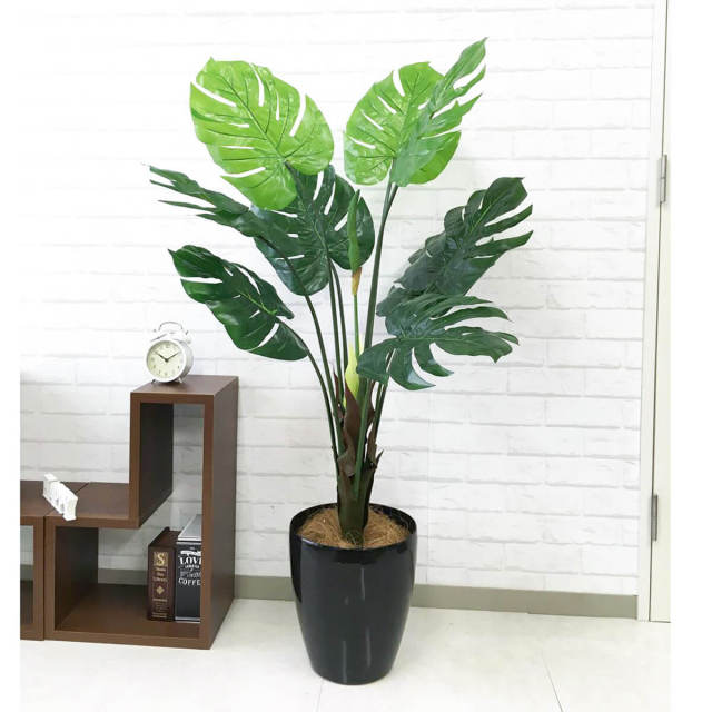 【PG098 モンステラ H125cm  / ポリプロピレン鉢】人工観葉植物 造花 フェイクグリーンインテリア アーティフィシャルグリーン