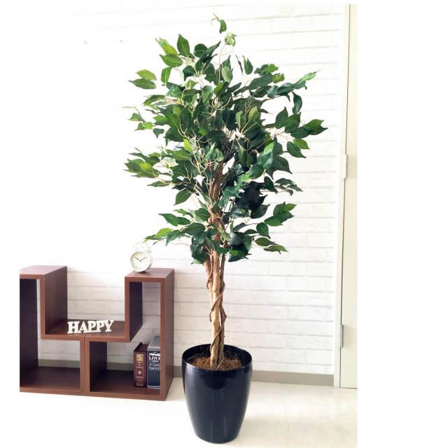 【PG099 ベンジャミンフィカスツリー H140cm  / ポリプロピレン鉢】人工観葉植物 造花 フェイクグリーンインテリア アーティフィシャルグリーン