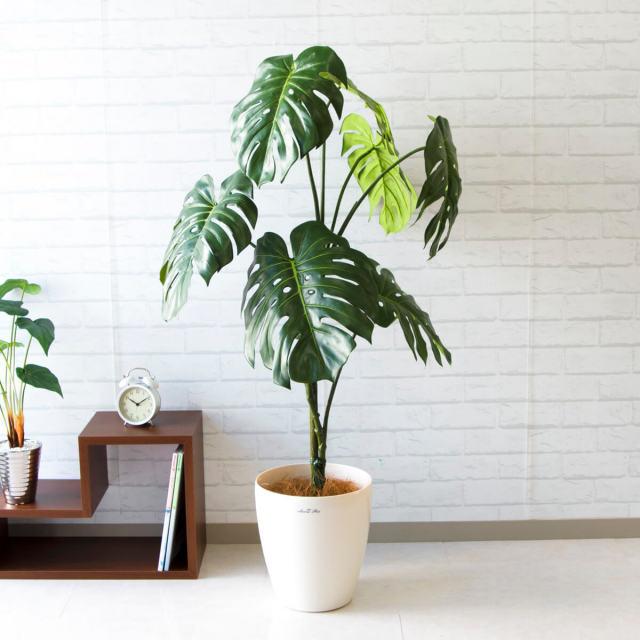 【PG108 モンステラ H125cm 【GLA-1442】/ポリプロピレン鉢】人工観葉植物 造花 フェイクグリーンインテリア アーティフィシャルグリーン